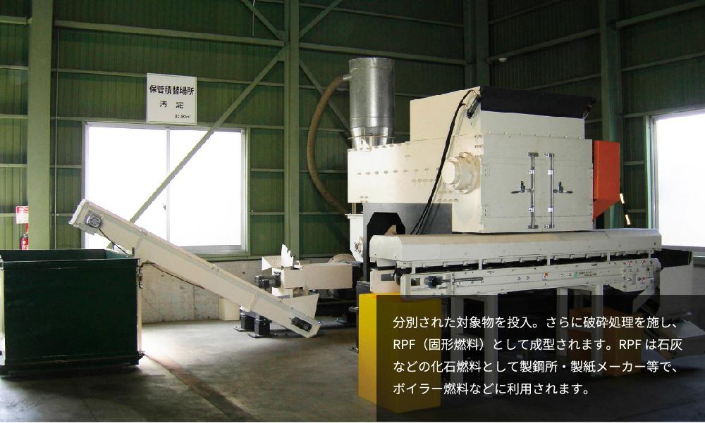 分別された対象物を投入。さらに破砕処理を施し、RPF(固形燃料)として成形されます。RPFは石灰などの化石燃料として製鋼所・製紙メーカー等で、ボイラー燃料などに利用されます。
